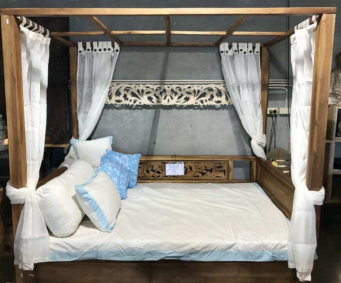 Picture of: Batubulan Double Canopy Teak Daybed With Carved Panel Feature That Bali Shop