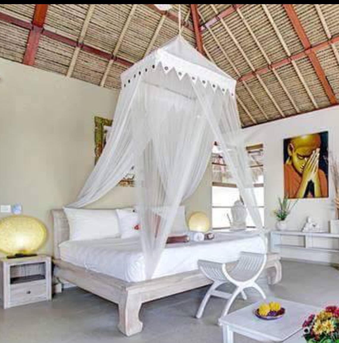 Bed Net Dbl Qn King Incl 80x80cm Rattan Hoop That Bali Shop