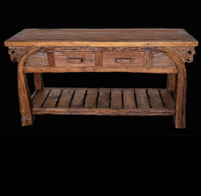 Side Table Bali Style.Original Rice Paddy Plough Wood Side Table