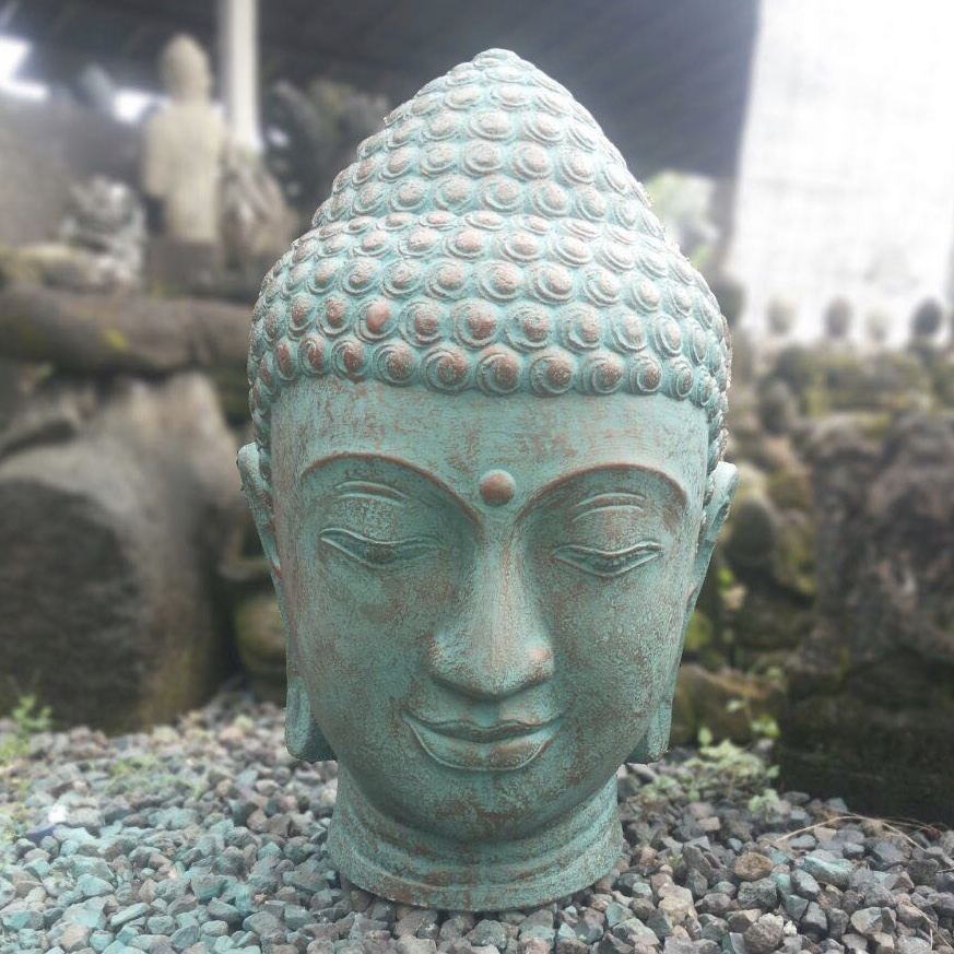 Buddha Head Green Cement ⋆ That Bali Shop